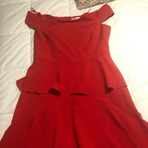 Off the shoulder red dress